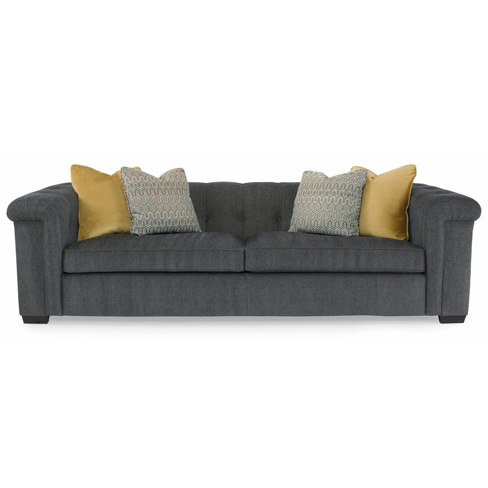 Piper Modern Classic Tobacco Wood Grey Rolled Arm Sofa   94 Inch   Kathy  Kuo Home ...