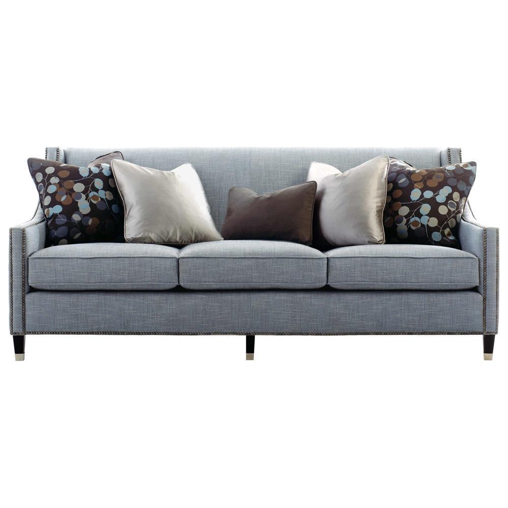 Emmeline Hollywood Regency Antique Nickel Blue Sofa   82.5 Inch | Kathy Kuo  Home ...