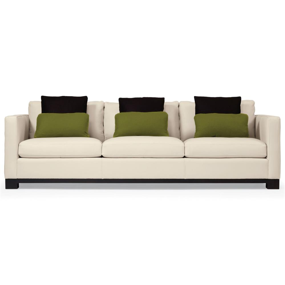 Miles Modern Classic Mocha Wood Ivory Leather Sofa   91 Inch | Kathy Kuo  Home ...