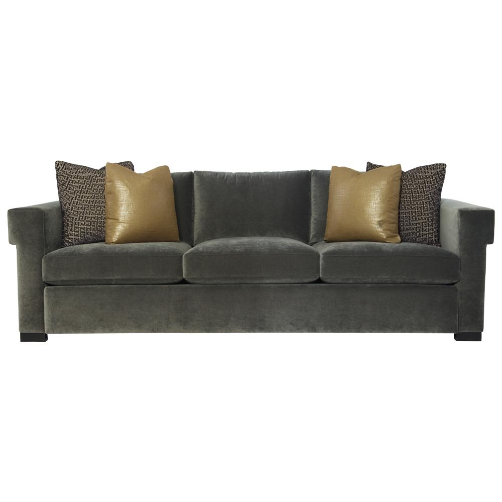 Evan modern classic mocha wood dark grey sofa kathy kuo home for Sofa modern classic