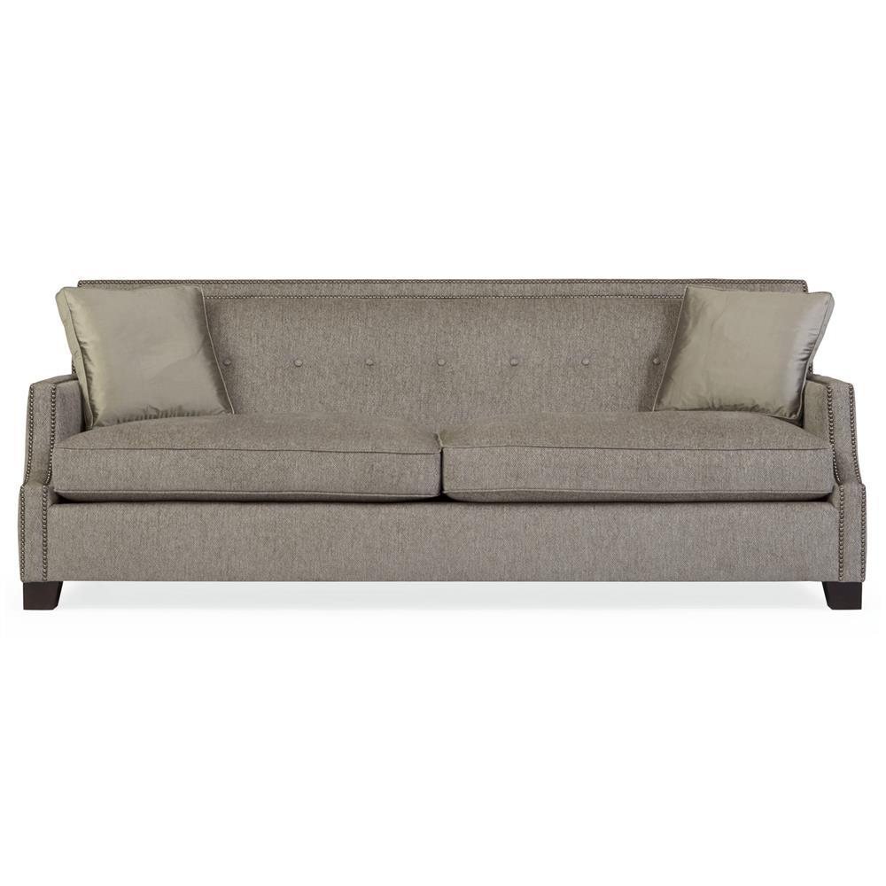 Bexley modern classic grey nailhead mocha wood taupe sofa for Classic sofa