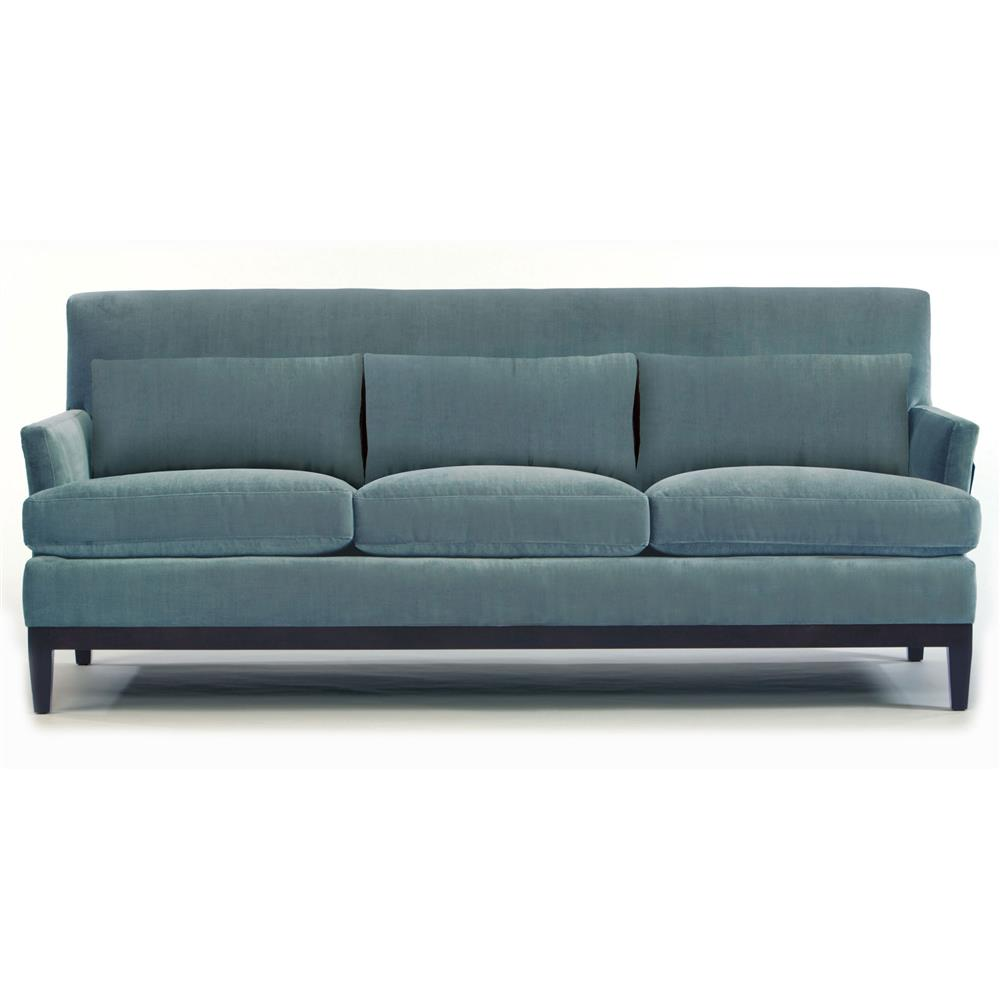 Eliza modern classic exposed mocha wood base blue sofa for Sofa modern classic