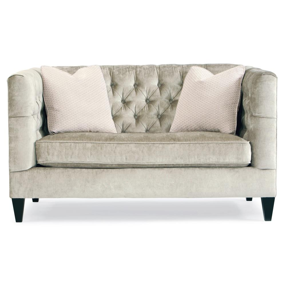 Love Sofa Dimensions: Jane Hollywood Regency Mocha Wood Silver Velvet Tufted