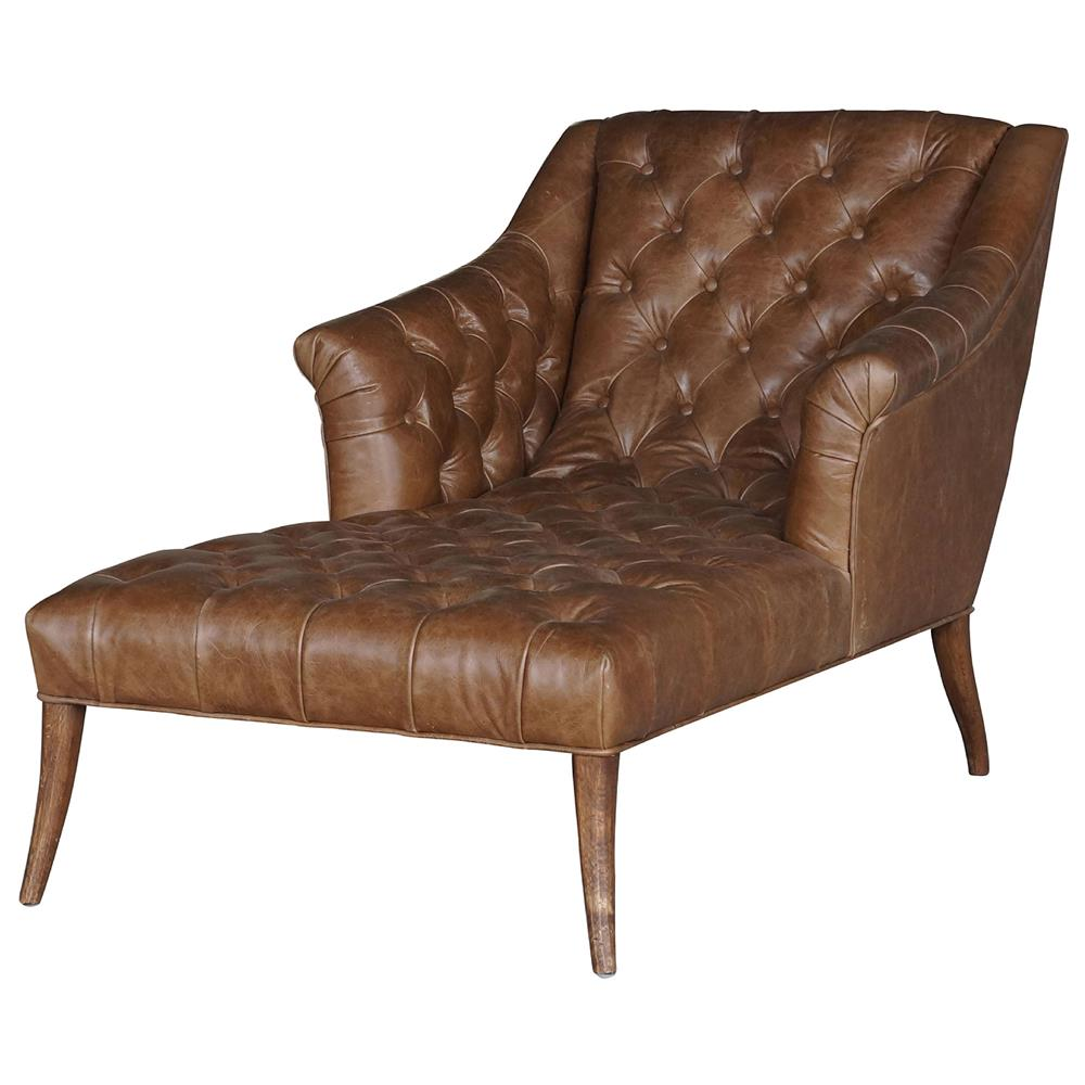 Roald rustic lodge brown leather tufted armchair chaise for Brown leather chaise lounge