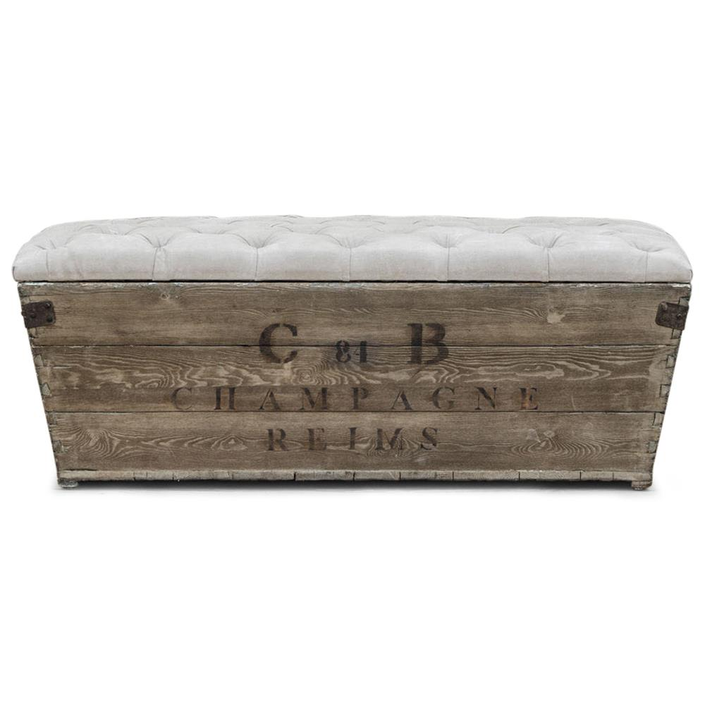 Reims french country aged wood grey storage crate bench kathy kuo home Gray storage bench