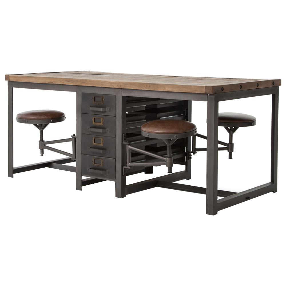 wilkes industrial loft reclaimed pine iron 4 swivel stools desk dining table. Black Bedroom Furniture Sets. Home Design Ideas