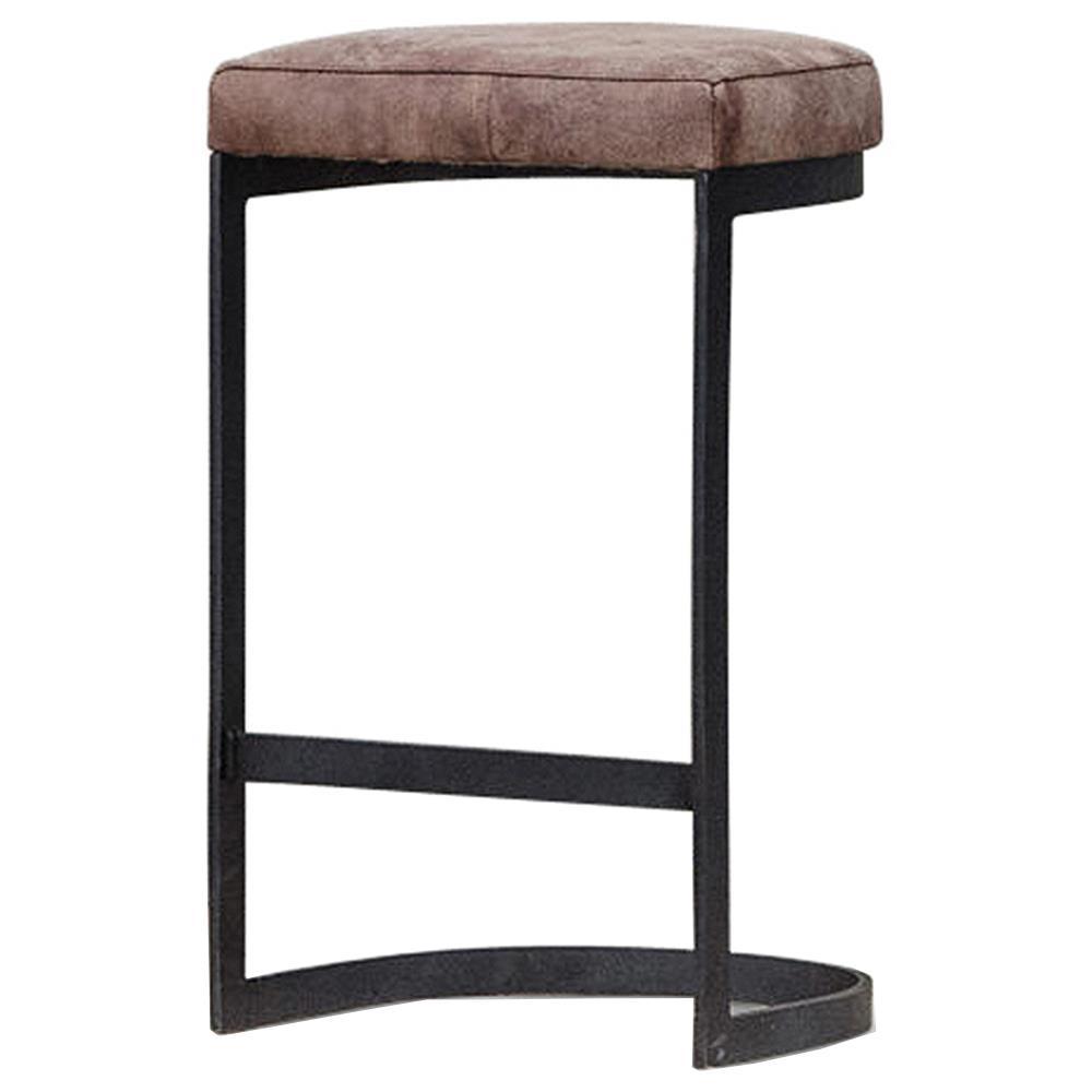 Ackerman Industrial Loft Brown Leather Black Iron Counter