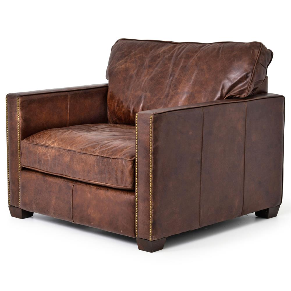 Hemingway Rustic Lodge Cigar Brown Leather Brass Nailhead ...