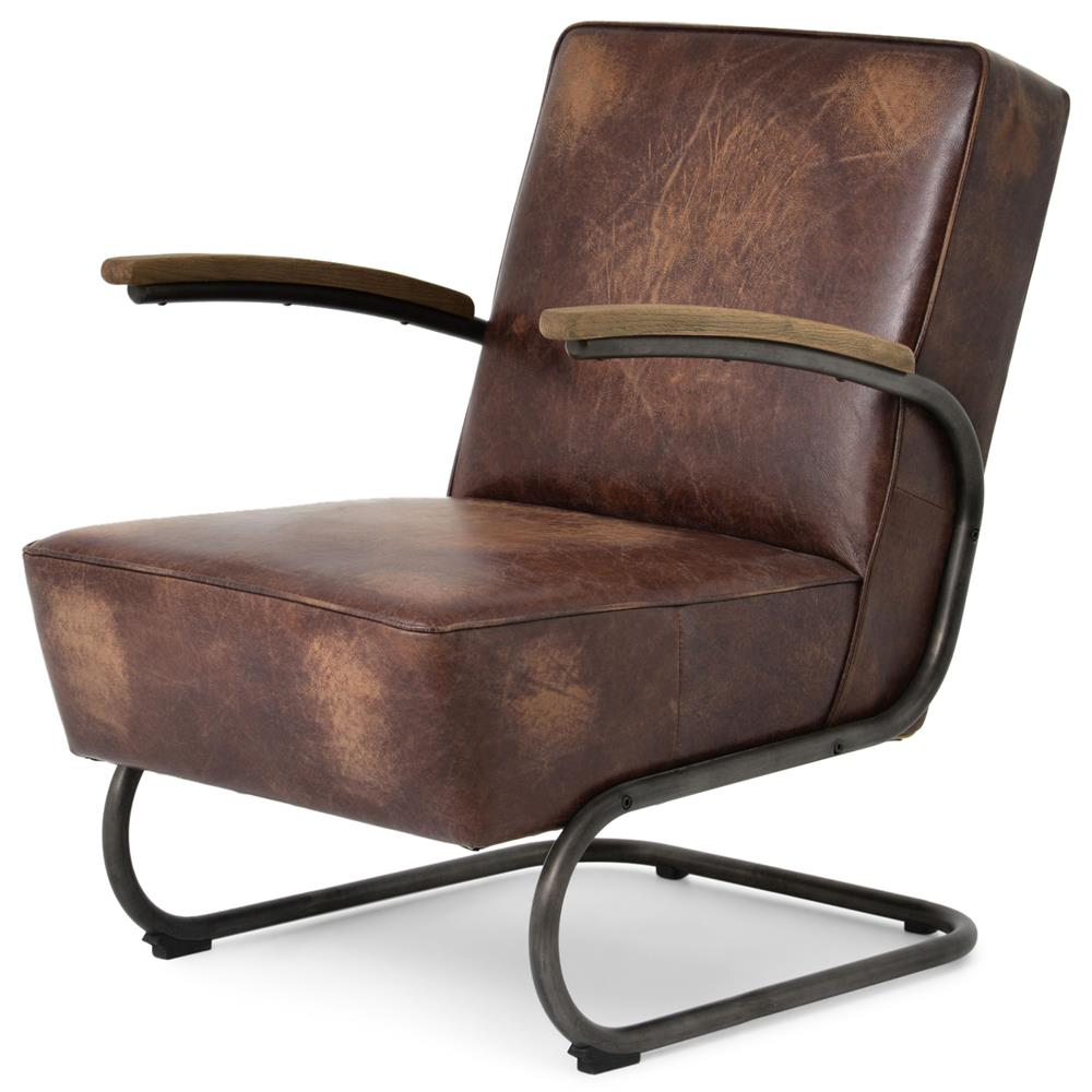 Peterman Industrial Loft Black Iron Brown Leather Armchair | Kathy Kuo Home