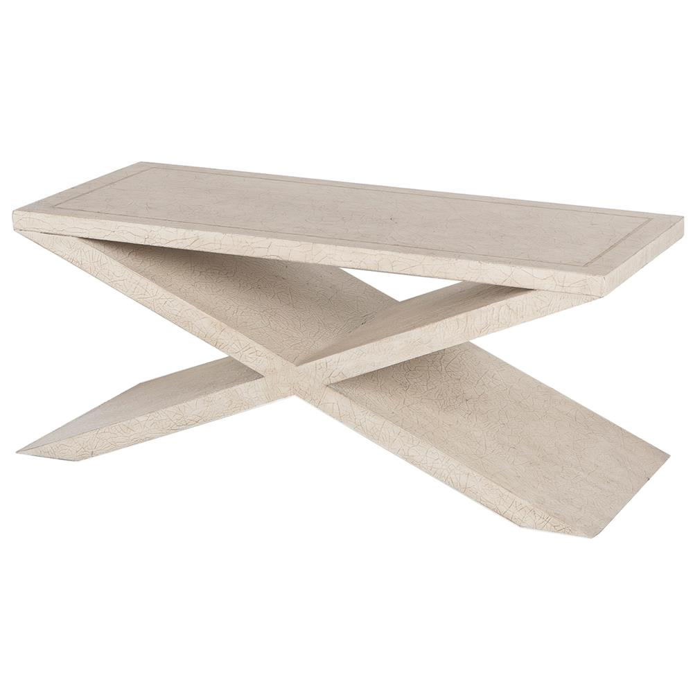 Eva modern classic antique ivory cross base wood coffee for Modern classic table