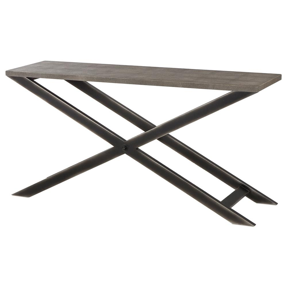 Billie Modern Classic Faux Shagreen Cross Leg Metal Console Table | Kathy  Kuo Home