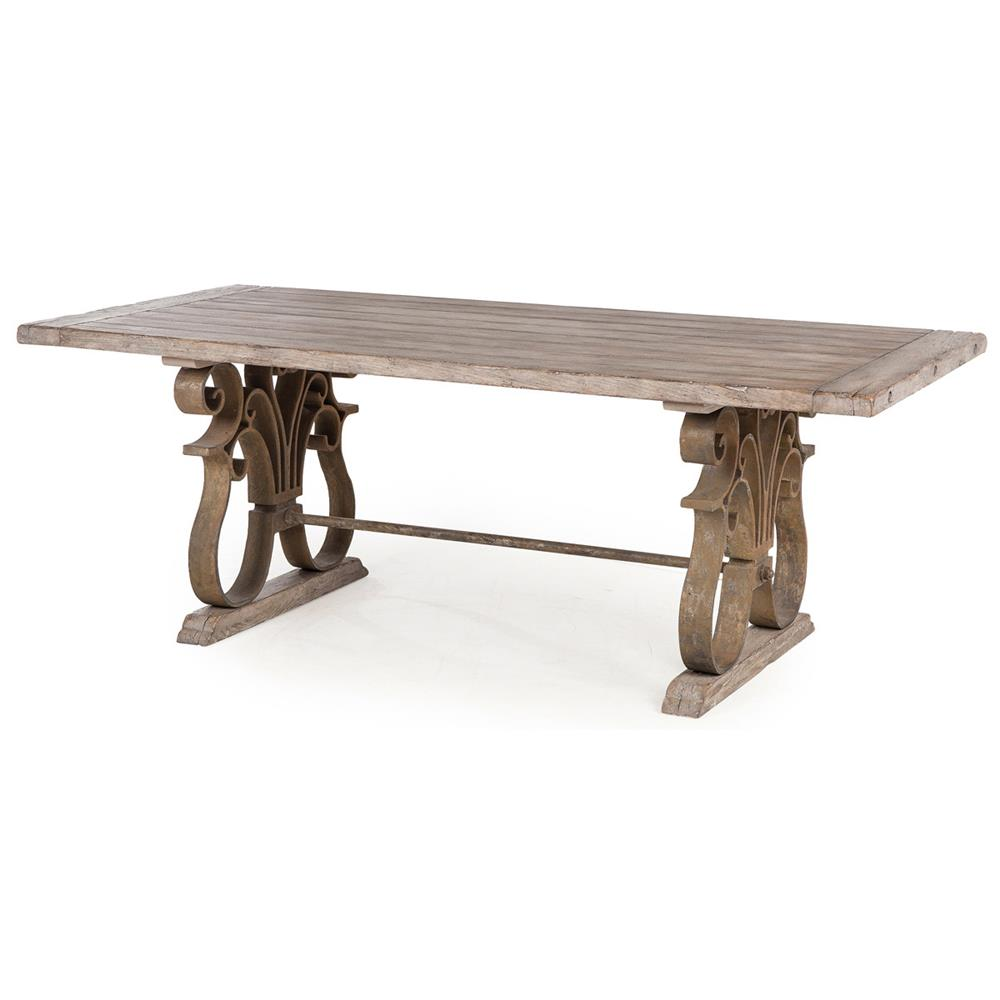 Talulah french country rustic iron scroll aged wood dining for Hardwood dining table