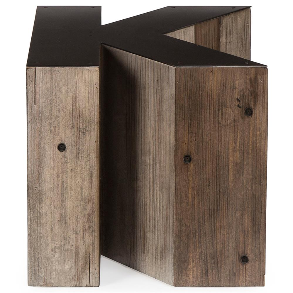 Wooden Side Table Bea Industrial Loft Alphabet Letter K Wood Side Table Kathy Kuo Home