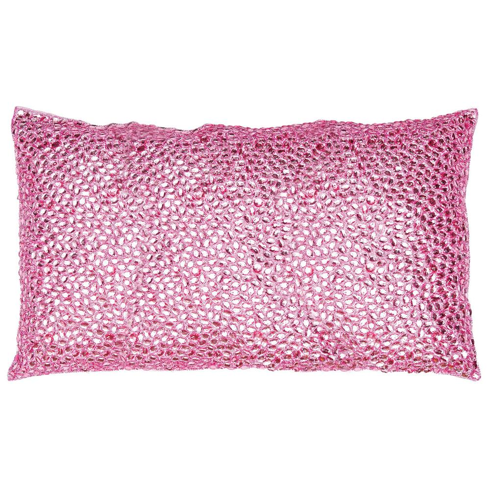 Nikki Pink Jeweled Beaded Pillow - 12x20 Kathy Kuo Home