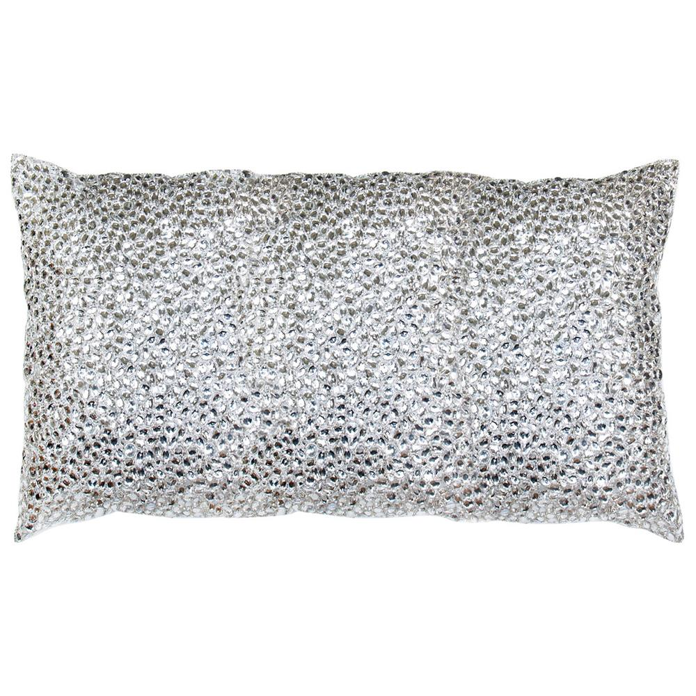 Decorative Jeweled Pillows : Nikki Silver Jeweled Beaded Pillow - 12x20 Kathy Kuo Home
