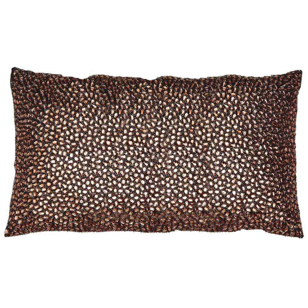 Decorative Jeweled Pillows : Nikki Brown Jeweled Beaded Pillow - 12x20 Kathy Kuo Home
