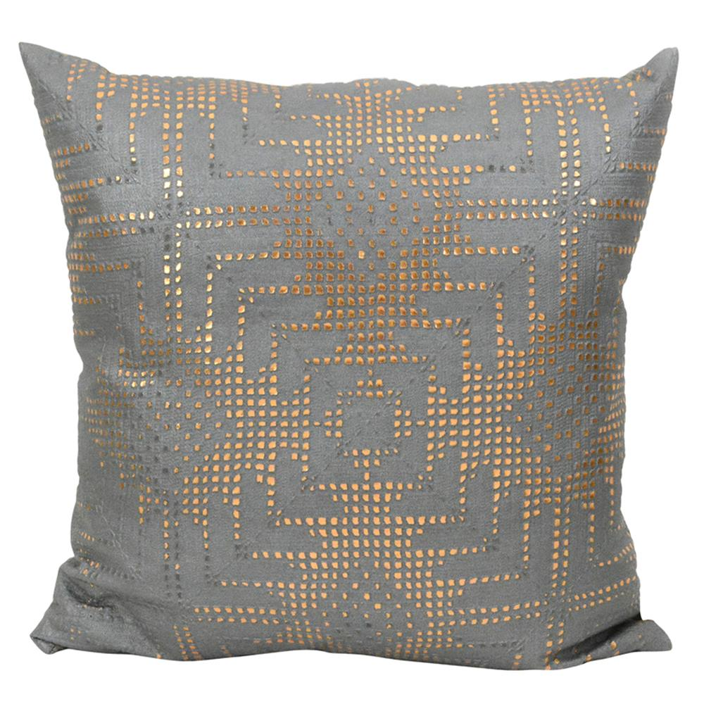 Jett Aztec Rose Gold Grey Faux Leather Pillow 20x20