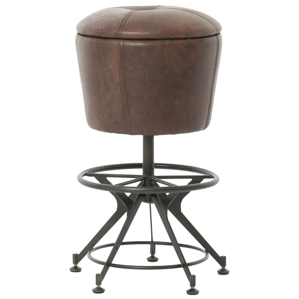 Pullman Industrial Loft Brown Leather Black Iron Counter Stool