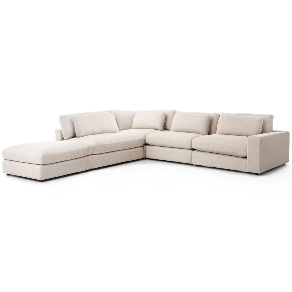 Cornerstone Modern Clic Beige Linen Sectional Sofa 131x131 Kathy Kuo Home