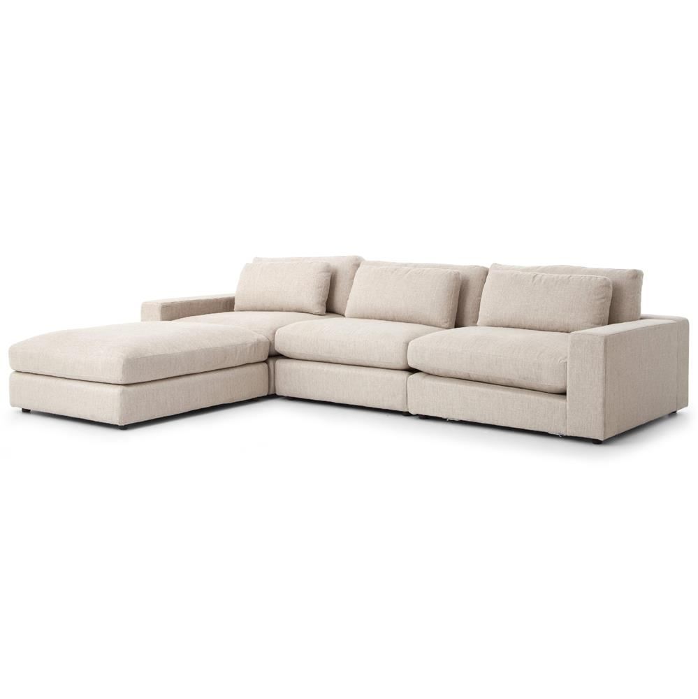 Contemporary Sectional: Cornerstone Modern Classic Beige Linen Sectional Sofa