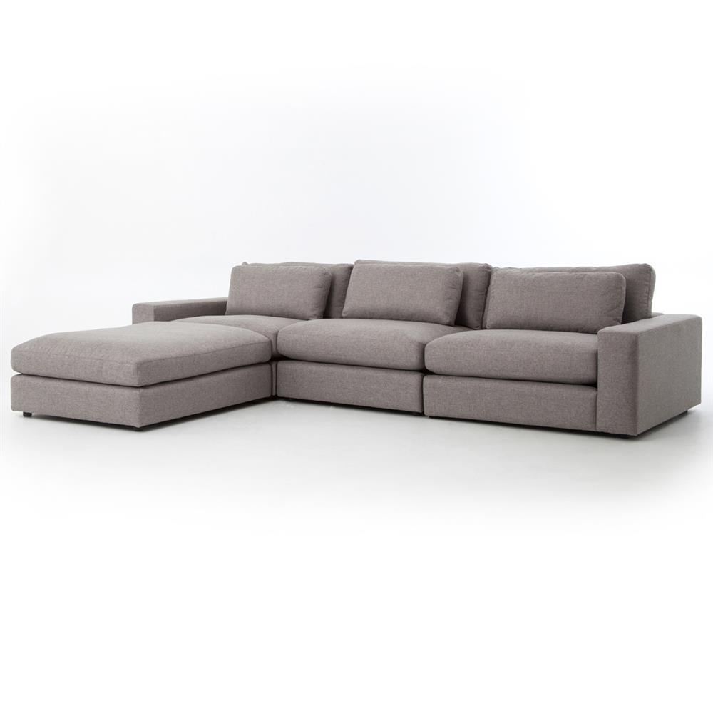 Cornerstone Modern Clic Grey Fabric Sectional Sofa 131x92 Kathy Kuo Home