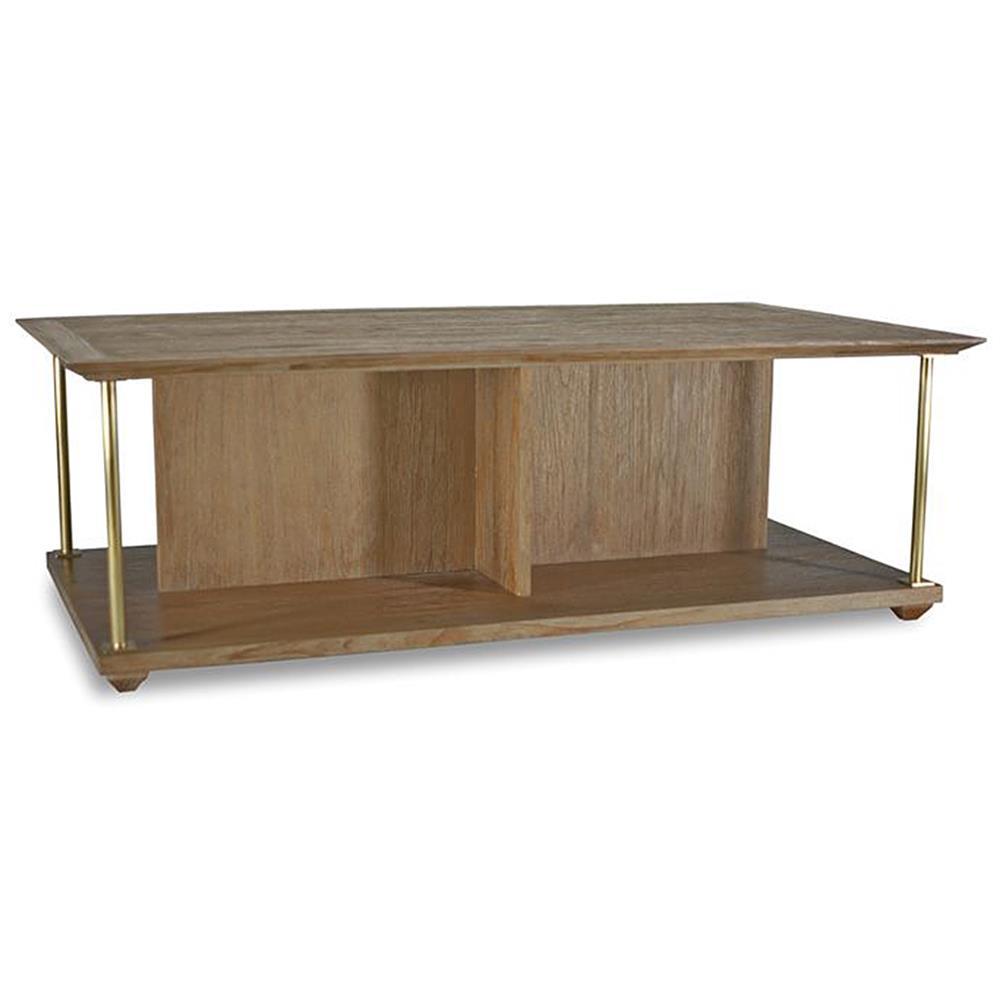Delaney modern classic brown teak brass coffee table kathy kuo home Modern teak coffee table