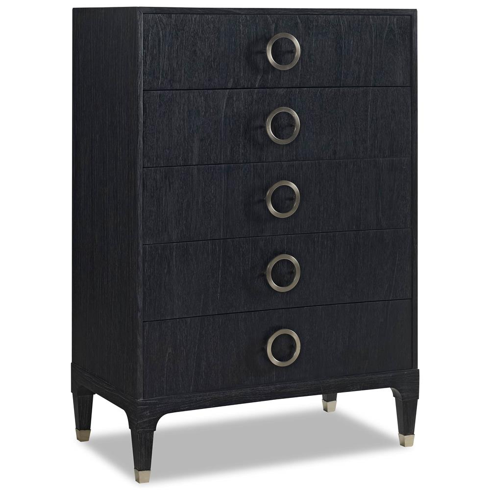 Haiden Modern Classic Black Onyx Steel 5 Drawer Tall