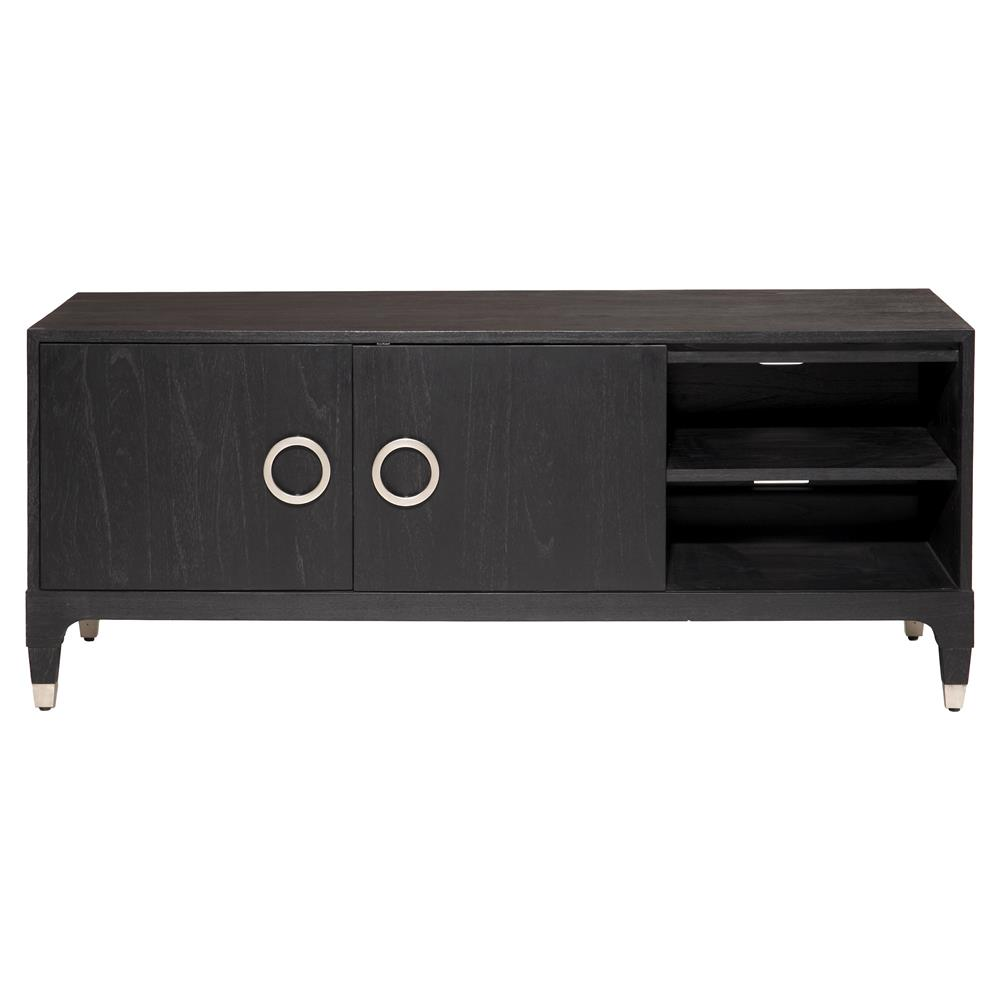 bathroom cabinets vanities haiden modern classic black onyx steel 2 door media 11391