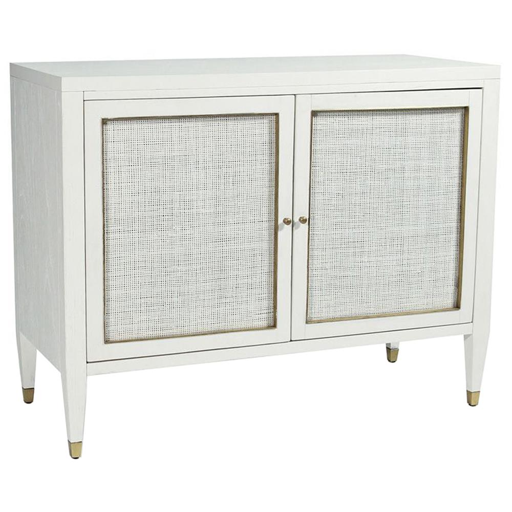Jaden modern classic white rattan brass 2 door bar cabinet for Sideboard rattan