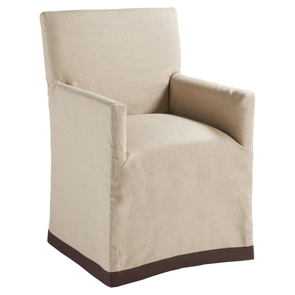 Terry Modern Classic Natural Linen Slipcover Dining Arm