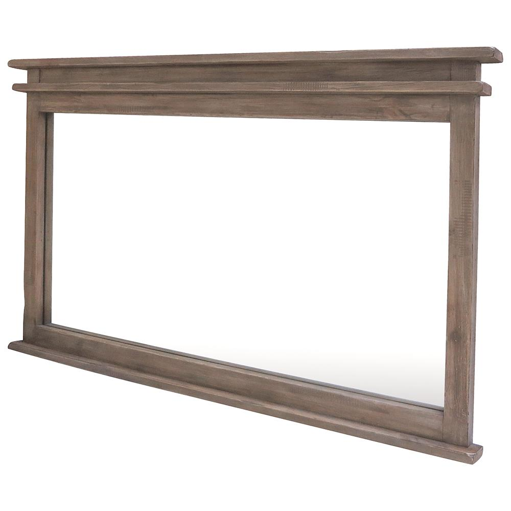 Stanton rustic lodge ash reclaimed wood wall mirror for Rustic mirror