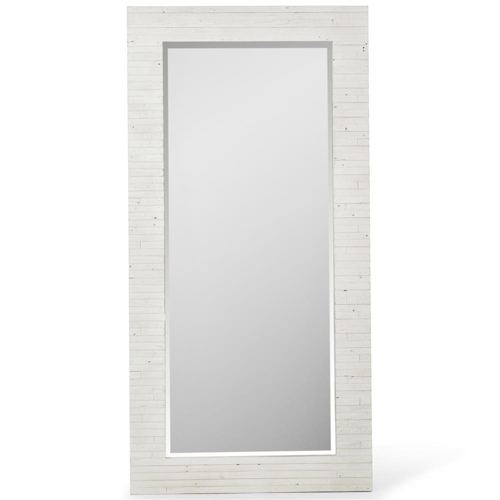 Blanca Coastal Beach White Wash Reclaimed Wood Floor Mirror