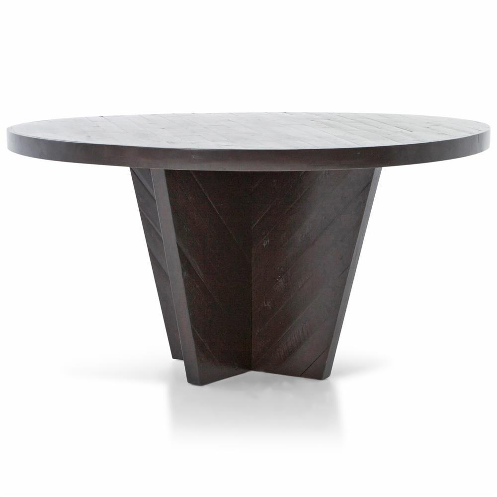 Dorwin Industrial Loft Espresso Brown Wood Round Dining