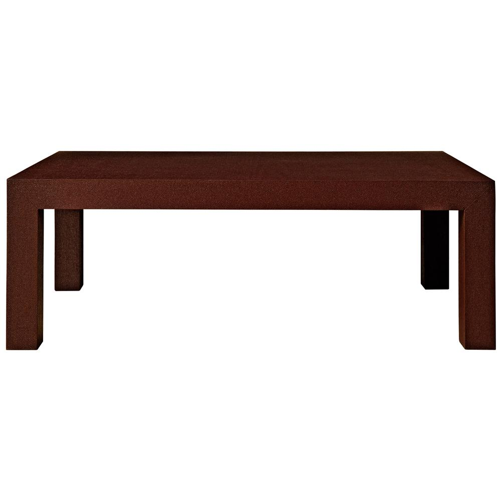 Wynne Modern Classic Brown Lacquer Grasscloth Coffee Table