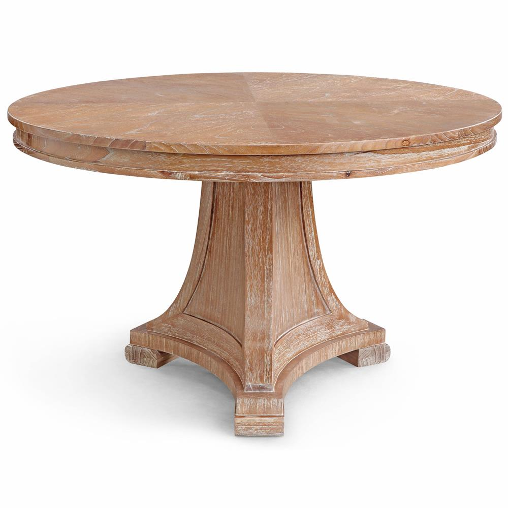 Pinney Coastal Beach White Wash Natural Wood Dining Table Kathy Kuo Home