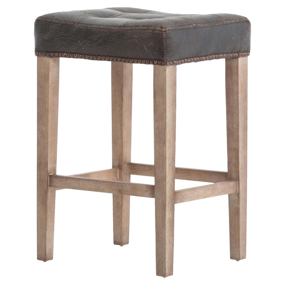 Milton Distressed Black Leather Tufted Counter Stool  : product11521 from www.kathykuohome.com size 1000 x 1000 jpeg 62kB