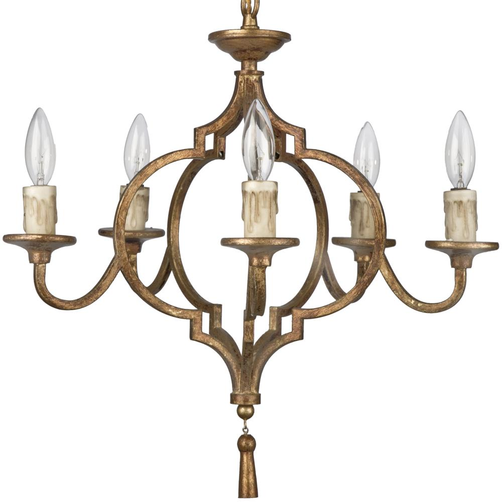 Coraline French Country Antique Gold Arabesque 5 Light