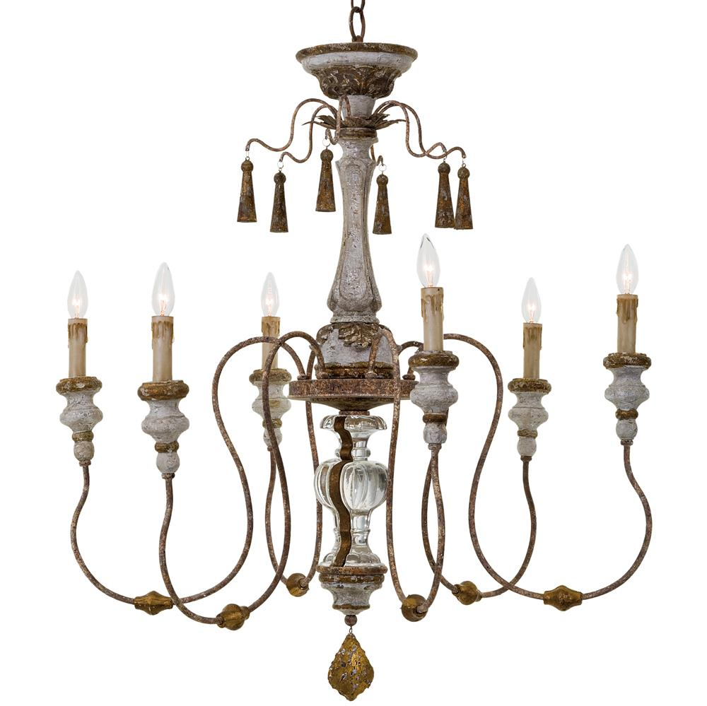 Adelia french country distressed rustic 6 light chandelier French country chandelier