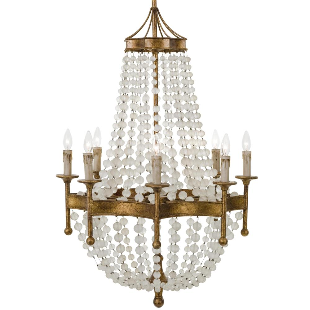 Nicole French Country Antique Gold Crystal 8 Light Chandelier Kathy Kuo Home