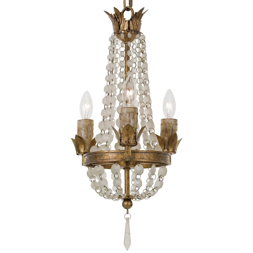 Diane french country ivory bead antique gold 3 light French country chandelier