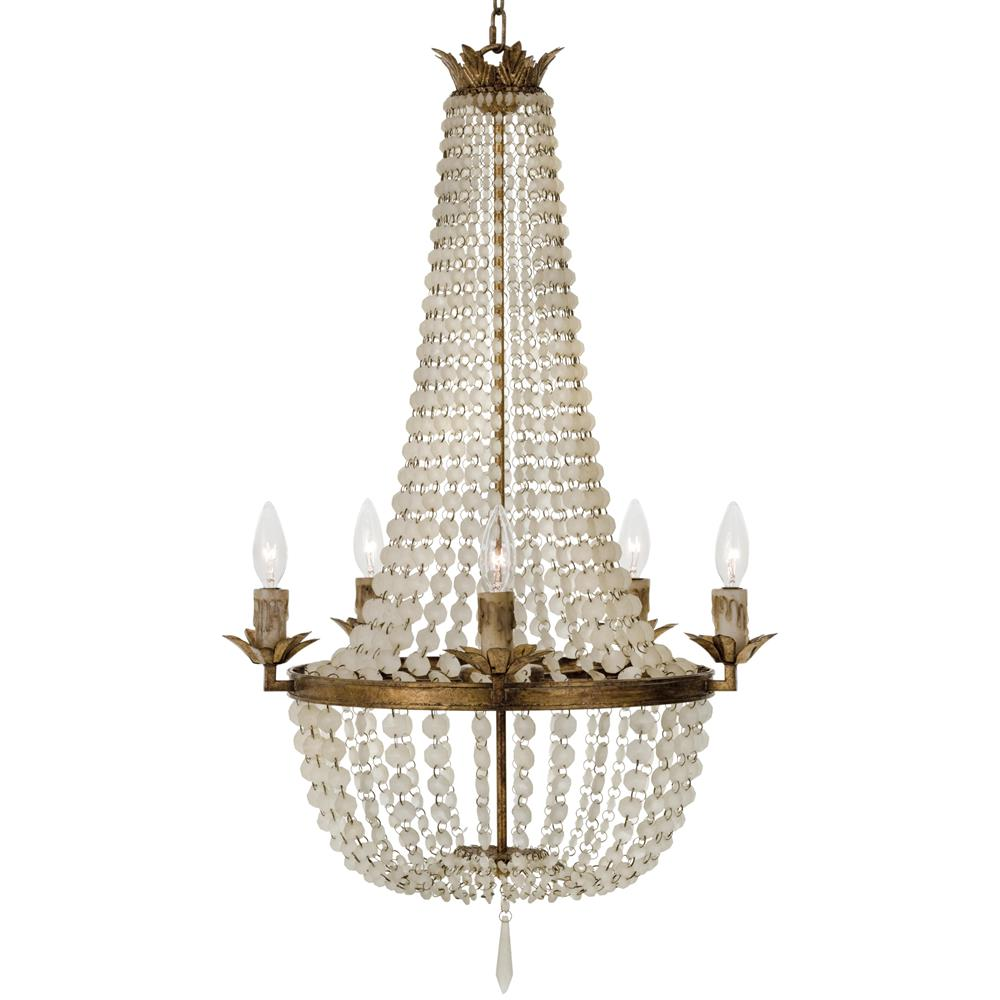Diane French Country Ivory Bead Antique Gold 5 Light