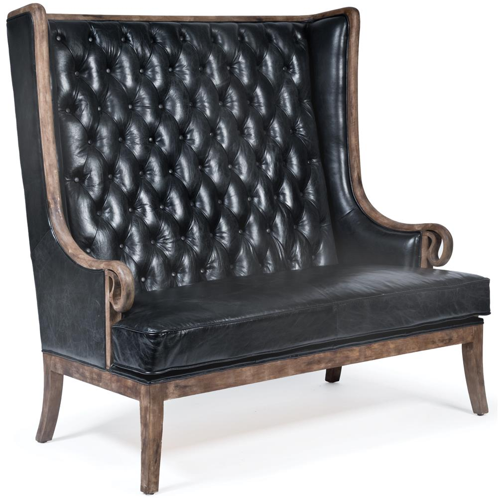 ... Classic High Back Tufted Black Leather Wood Settee | Kathy Kuo Home