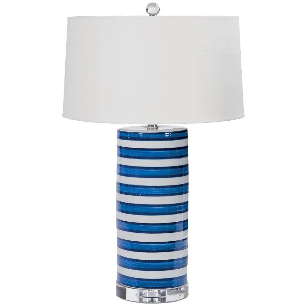 Blue ceramic table lamp - Tilden Coastal Beach Classic Blue Stripe Ceramic Table Lamp Kathy Kuo Home