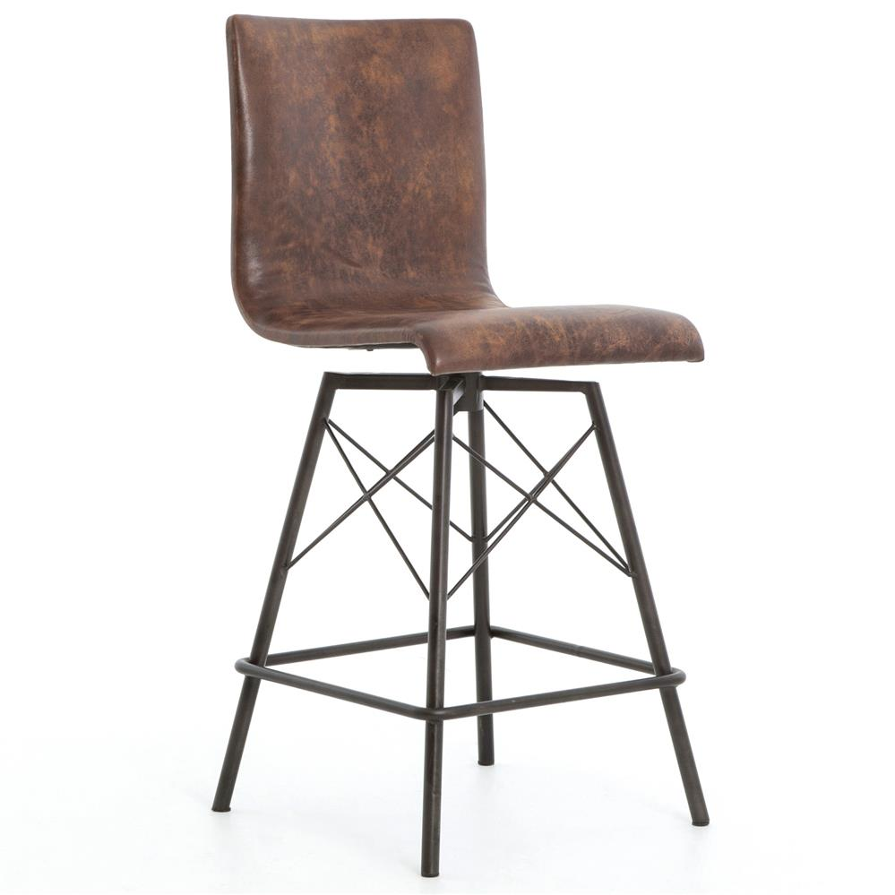 Crenshaw industrial loft iron leather counter stool for Counter bar stools