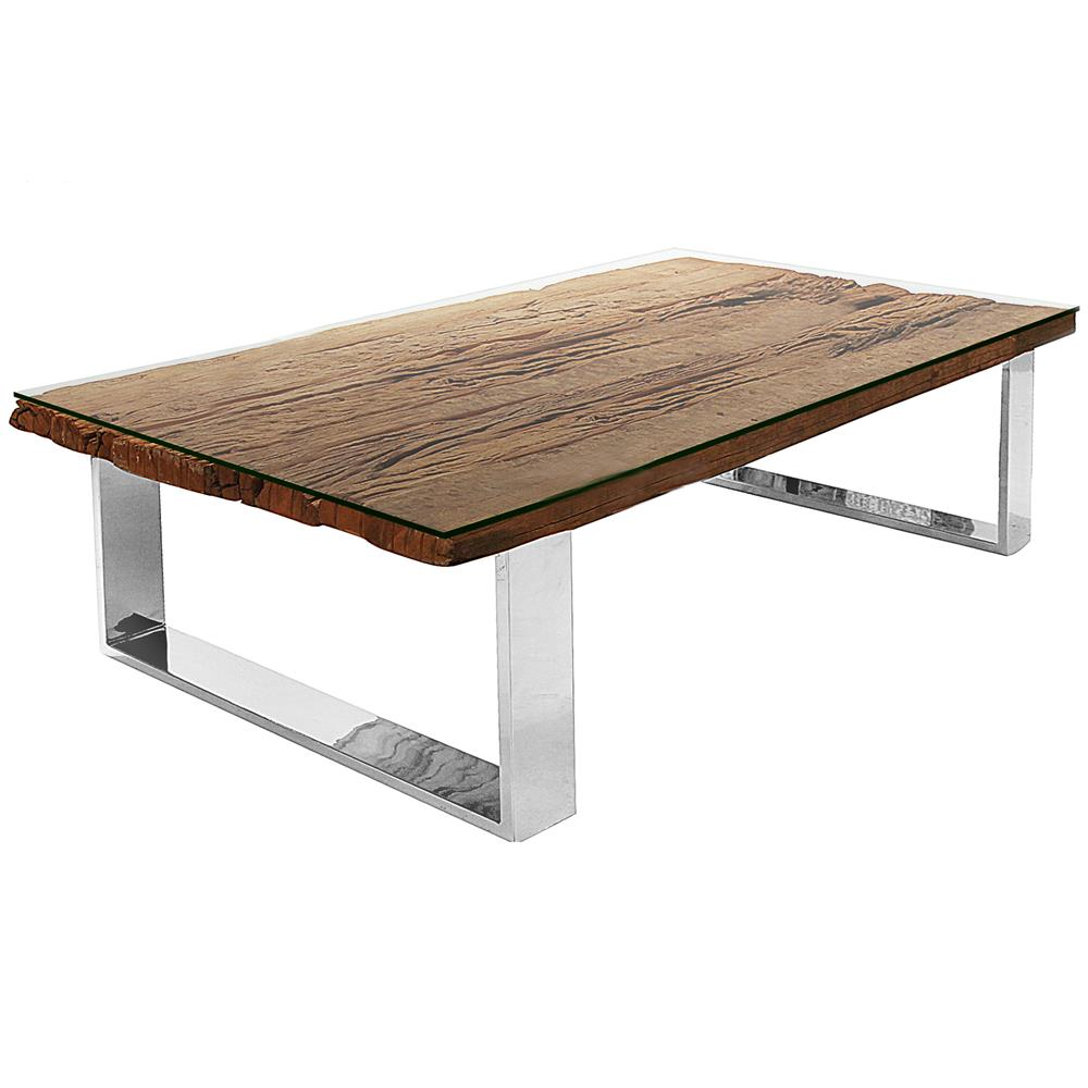 Buck rustic lodge reclaimed wood glass steel coffee table for Glass coffee table with wood