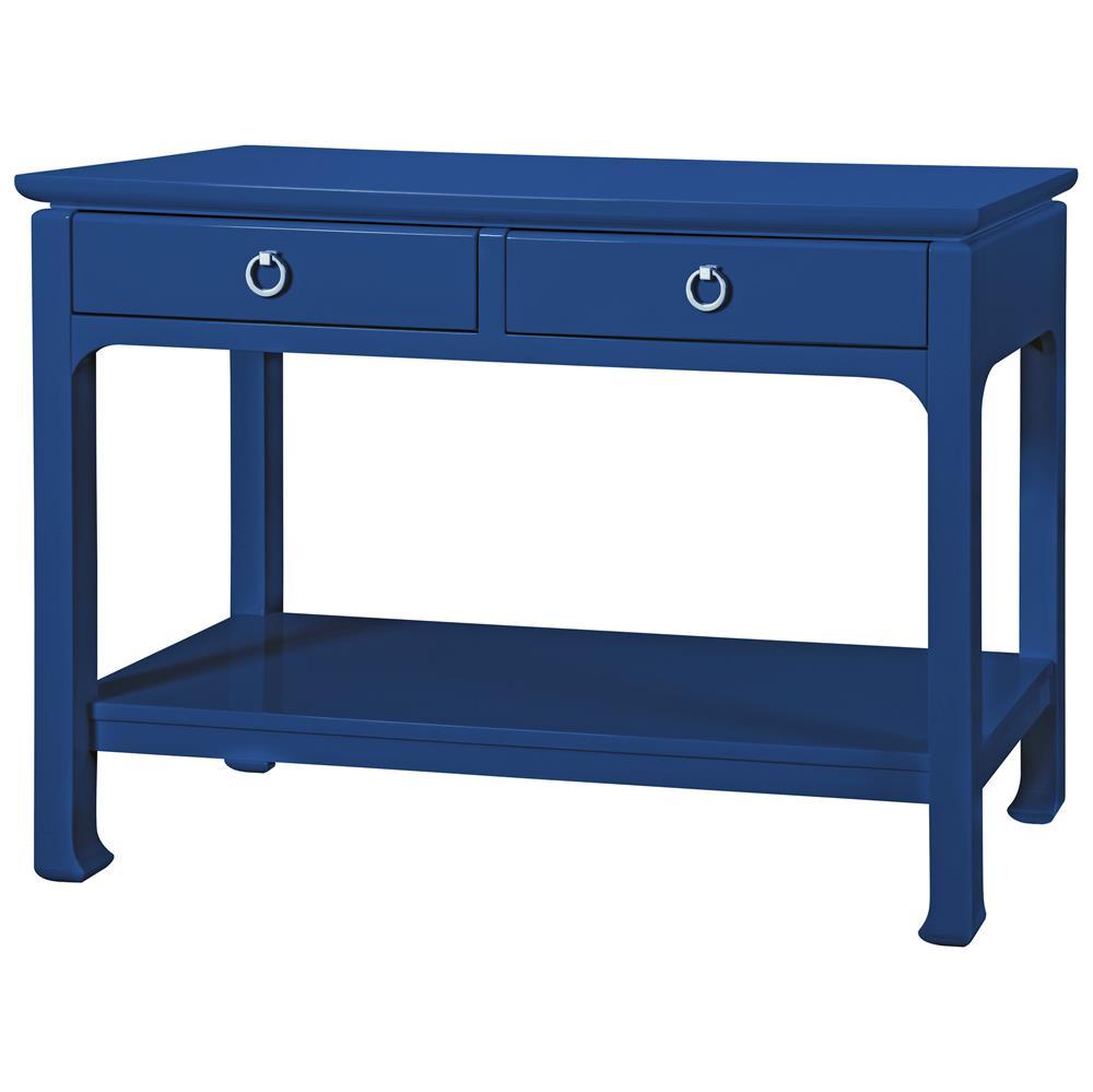 Bruna Modern Classic Blue Lacquer Chinoiserie Console