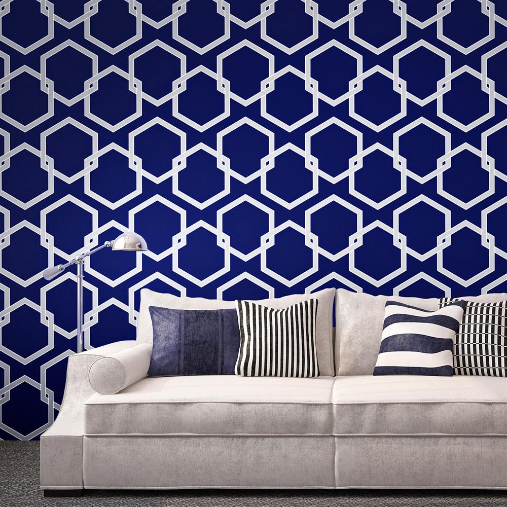 Honeycomb Industrial Loft Blue Silver White Removable HD Wallpapers Download Free Images Wallpaper [1000image.com]