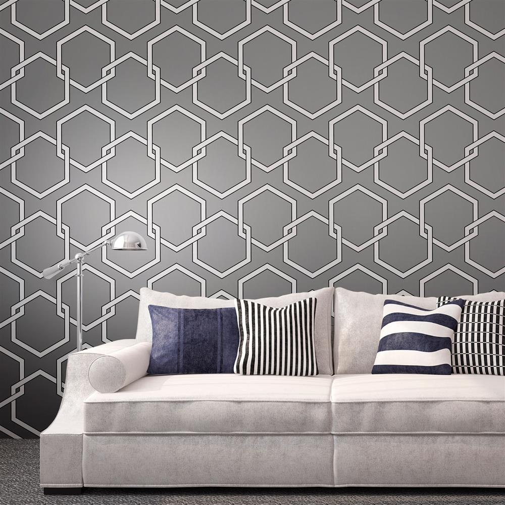 Honeycomb industrial loft grey white black removable wallpaper for Removable wallpaper