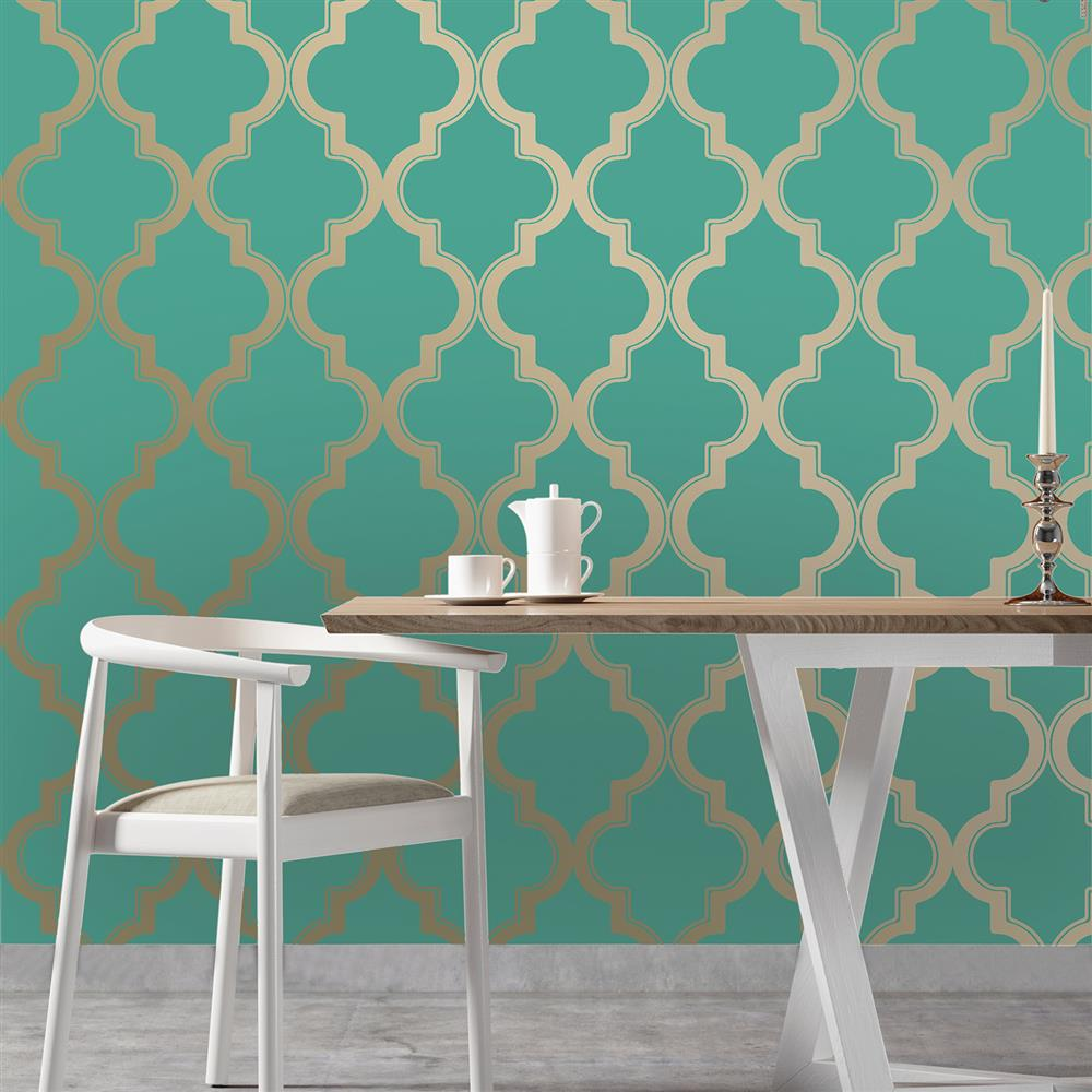 Moroccan trellis global bazaar jade gold removable wallpaper for Removable wallpaper