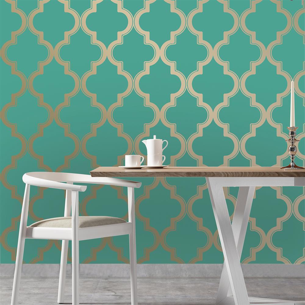 Moroccan Trellis Global Bazaar Jade Gold Removable Wallpaper